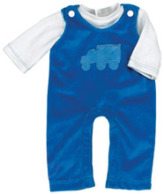 Blue Velour Overalls Set For 15 Inch Baby Dolls