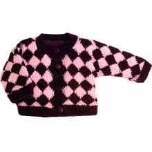 Pink & Chocolate Diamond Cardigan Doll Sweater Fits American Girls Dolls Clothes  FINAL CLEARANCE
