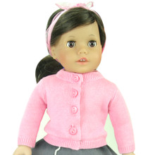 "Fine Gauge Pink Knit Sweater Cardigan Fits 18"" American Girl Dolls"