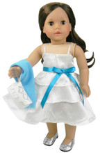 "White Satin 18"" Doll Dress Set Fits 18 Inch American Girl"