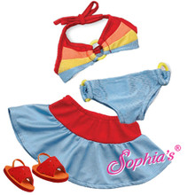 Rainbow Ring Bikini &amp; Swim Skirt Fits 18 Inch American Girl Dolls Clothes Bathing Suit