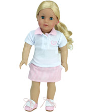 "Sophia's Golf Polo & Pink Print Skirt Fits 18"" Dolls"