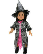 "Black Sparkle & Hot Pink Witch Costume Fits 18"" American Girl Dolls"