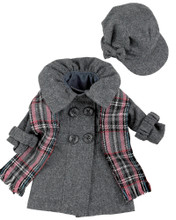 "Gray Wool Flannel Doll Coat, Plaid Scarf, & Cap Fits 18"" American Girl Dolls"