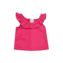 "Hot Pink Ruffle Tank Fits 18"" American Girls Dolls"