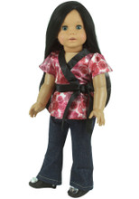 Satin Floral Blouse & Denim Jeans Fits 18 Inch American Girl Dolls Clothes