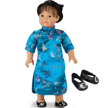 2 Pc Dress Set   Mandarin Style Dress and Black Patent Leather Shoes fits 18 In American Girl Doll
