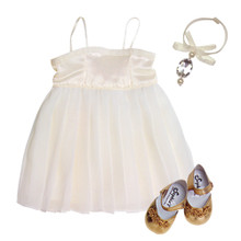 "Ivory Satin & Chiffon Dress w/ Choker Necklace Fits 18"" American Girl Dolls"