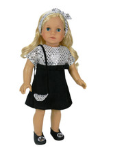 "Black Sequin Party Dress Fits 18"" American Girl Dolls"