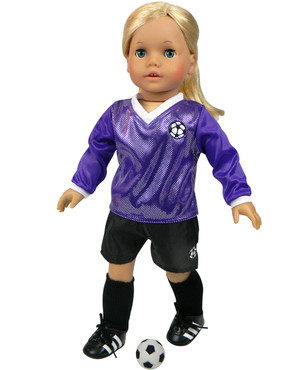 """Sophia's Purple Soccer Outfit & Ball Fits 18"""" Dolls"""