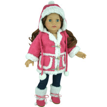 Hot Pink Sherpa Doll Coat & Hat