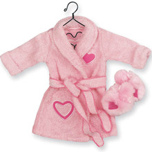 Pink Terry Cloth Robe & Embroidered Slippers Fits 18 Inch American Girl Dolls Clothes