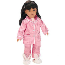 "2 Piece Pink Satin PJ's Set Fits 18"" American Girl Dolls"