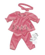 Pink Velour Pants Set  & Socks Fits15 Inch Baby Dolls