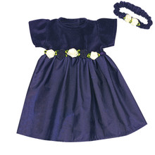 Navy Dress & Headband 15 inch Baby Dolls Fits Bitty Baby American Doll Clothes