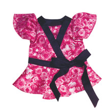 Magenta Floral Satin 18 Inch Doll Blouse fits American Girl Accessories
