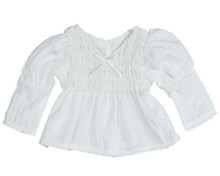 "White Puckered Peasant Blouse fits 18"" American Girl Dolls"