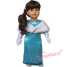 Turquoise Satin Gown with Sequin Trim Fits 18 Inch American Girl Dolls Clothes