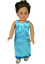 "Turquoise Satin Gown with Sequin Trim Fits 18"" American Girl Dolls"