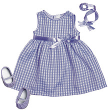 Lavender Gingham Spring Dress & Headband 15 inch Baby Dolls Fits Bitty Baby American Doll Clothes