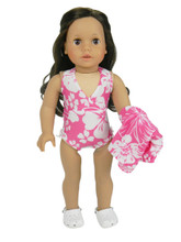 "Pink Hawaiian Floral Bathing Suit & Cover-Up Fits 18"" American Girl Dolls"