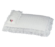 "White Eyelet Doll Bedding Set For 18"" Doll Furniture"
