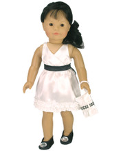 "White Satin Dress w/ Black Bow & Clutch Fits 18"" American Girl Dolls"