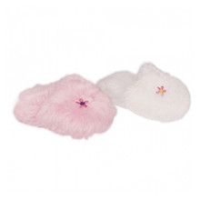 Embroidered Fuzzy Slippers Fits 18 Inch American Girl Doll Shoes