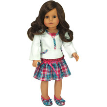 "Plaid Skirt & Lace Trim Top Fits 18"" American Girl Dolls"