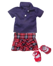Plaid Ruffle Skirt & Navy Polo Fits 18 Inch American Girl Dolls Clothes