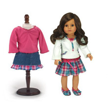 4 Pc Interchangeable Skirt Sets Plaid Skirt Outfit plus Denim Skirt Outfit fits American Girl 18 Inch  Dolls