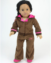 "Crown Logo Brown Velour Sweatsuit For 18"" Dolls"