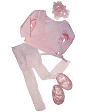 """Ballet Sweater, Slippers, Tights, & Hair Accessory Set Fits 18"""" American Girl Dolls"""