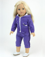 Purple Sparkle 18 Inch Doll Sweatsuit