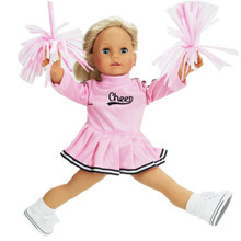 "Pink Cheerleader Jumper w/ Pom-Poms For 15""  and 18"" Dolls"