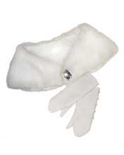 "White Fur Stole & Elbow-Length Gloves Fits 18"" American Girl Dolls"