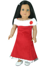 Red Velvet Gown w/ Fur Trim Fits 18 Inch American Girl Dolls Clothes Holiday Dress