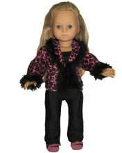 "Sophia's Hot Pink Animal Print Jacket and Black Knit Dress Pants For 18"" Dolls"