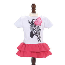 Zebra Tee & Hot Pink Tiered Skirt fits 18 inch American Girl Doll