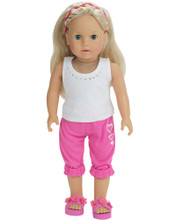 "18"" Capri Sweats and Tee 2 Piece Set Fits American Girl Clothes"