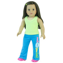 "Lime Rhinestone Tank & Yoga Pants Fits 18"" American Girl Dolls"