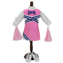 18 Inch Pink & Navy Cheerleader Outfit with Pom-Poms