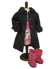 "Black Dress Coat with Satin Trim Fits 18"" American Girl Dolls"