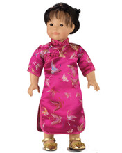 "Fuchsia Mandarin Dress Fits 18"" American Girl Dolls"