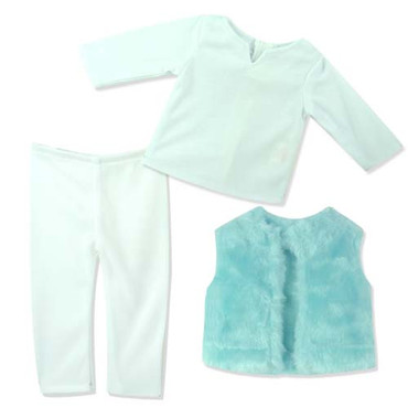 "Sophia's Teal Fur Vest, White T & White Leggings for 18"" Dolls"