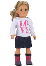 "Love T-Shirt & Denim Skirt Fits 18"" Dolls"