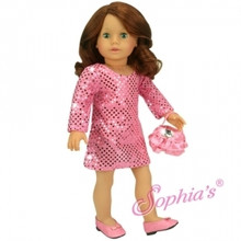 Pink Sequin Tunic Style Dress &amp; Purse Fits 18 Inch American Girl Dolls Clothes