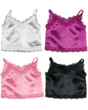 """Berry and Silver Satin Tank Top with Lace fits 18"""" Dolls"""