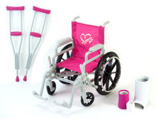 "Wheelchair, Crutches, and Bandage Set Fits 18"" Dolls"