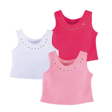 Ribbed Rhinestone Tank Tops for 18 Inch Dolls